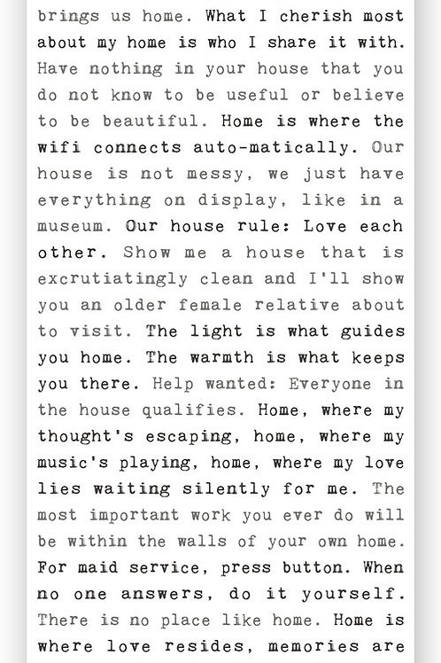 """""""Home Revisited"""" - Typewriter Sign"""