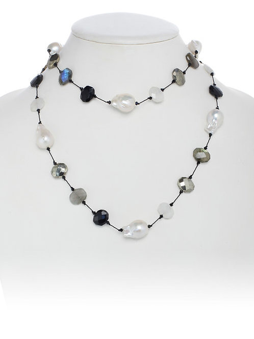 Mixed Gemstone & Baroque Pearl Necklace