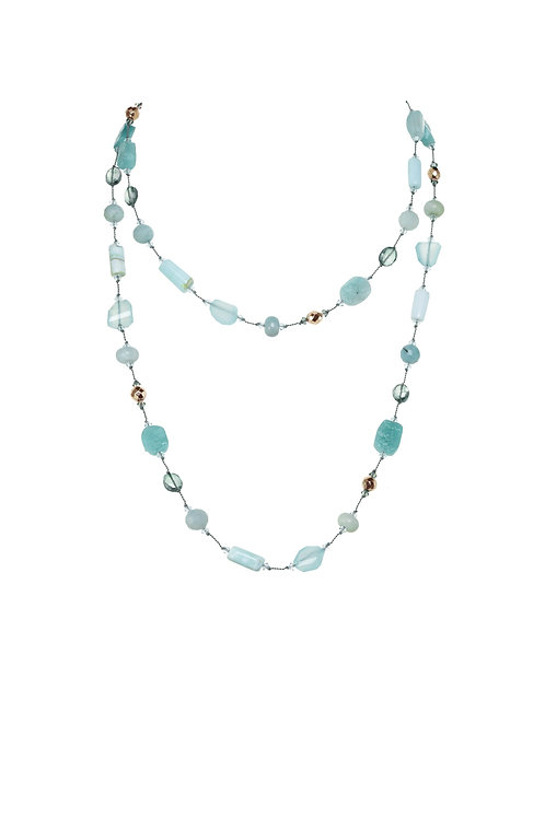 Margo Morrison - Chalcedony, Amazonite, Pyrite & Opal Necklace