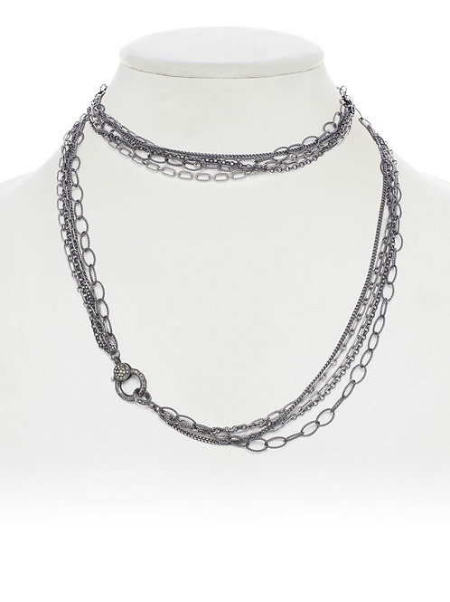 Sterling Silver Chain & Pave Diamond Clasp - Margo Morrison