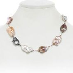 Baroque Pearl & Pave Diamond Clasp Necklace - Margo Morrison