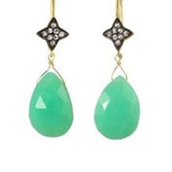 Chrysoprase & White Sapphire Earrings - Margo Morrison