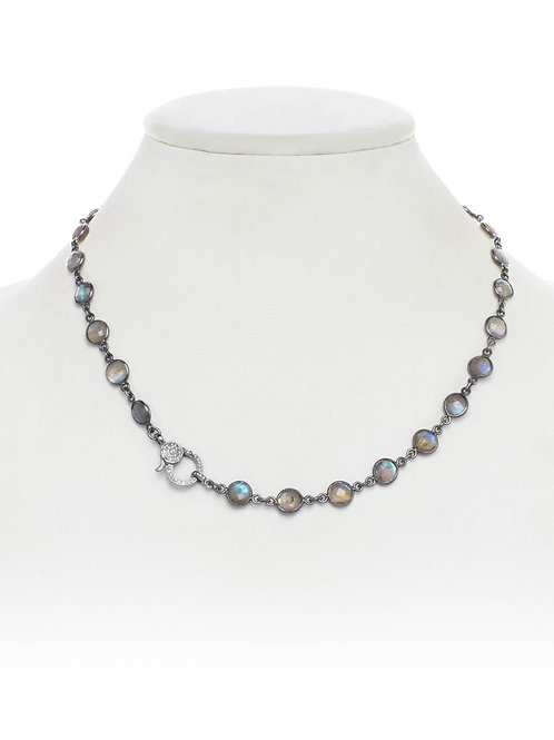 Labradorite & Diamond Clasp Necklace - Margo Morrison