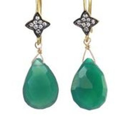 Green Onyx & White Sapphire Earrings