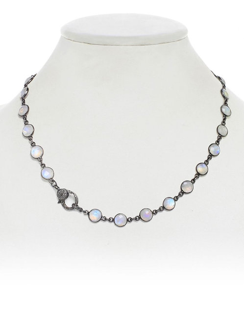 Rainbow Moonstone & Diamond Clasp Necklace - Margo Morrison