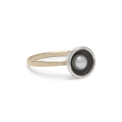 Pearl, Sterling Silver & 14kt Gold Fill Ring - J&I
