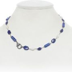 Lapis & Pearl With Diamond Clasp Necklace - Margo Morrison