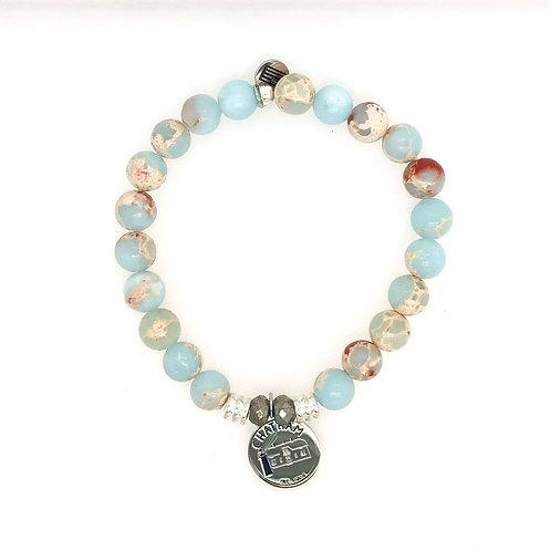 """""""Chatham"""" Bracelet - Sterling Silver Charm & Desert Jasper Beads"""