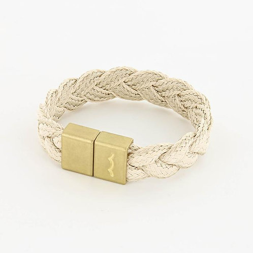 Braided Rope Bracelet With Magnetic Clasp - Natural