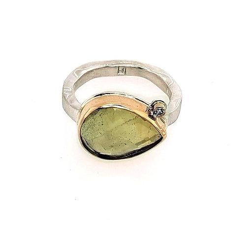 Jamie Joseph - Yellow Beryl & Diamond Ring - Sterling Silver & 14kt Gold
