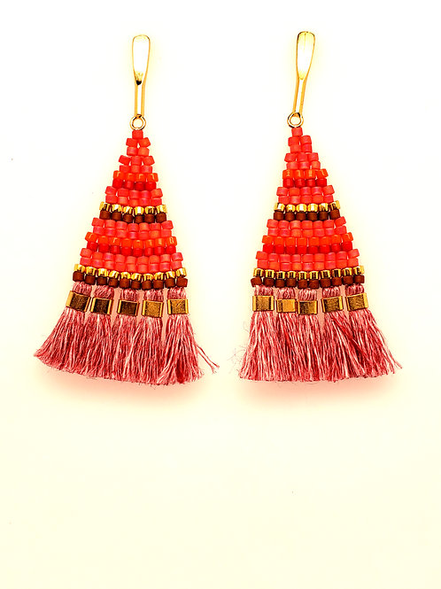 Linen & Glass Bead Tassel Earrings - Tomato