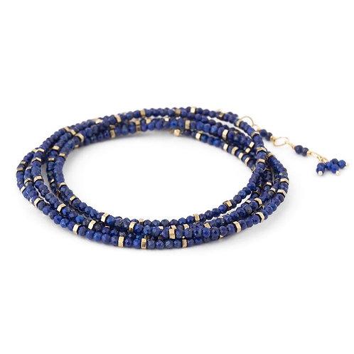 Lapis & 18kt Gold Wrap Bracelet