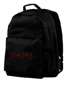 Jon'Jay Black Commuter Backpack with red