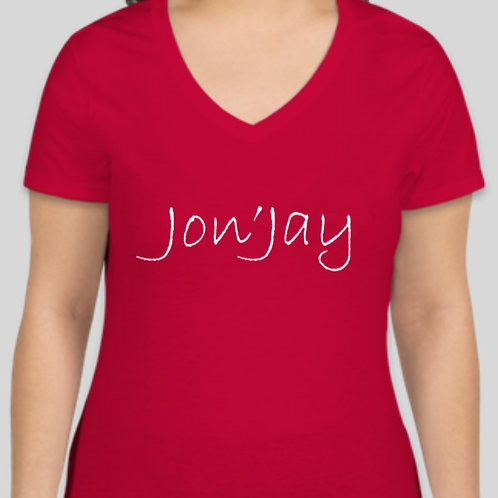 Ladies Plus Size V-neck Jon'Jay Tee - Available in crew neck