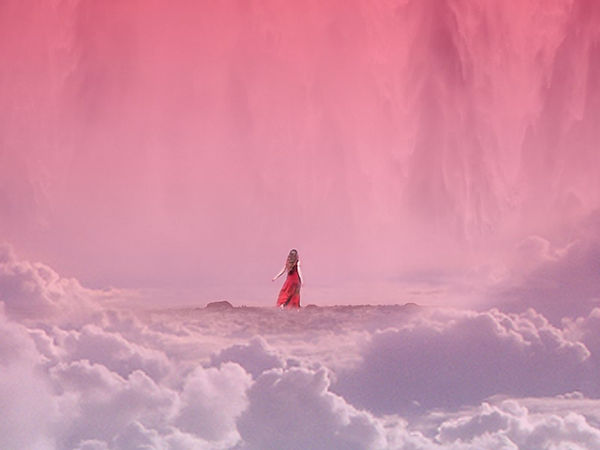 Intergalactic Feelings - Intergalactic Surrealism - Red Dress Waterfalls