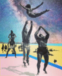 Intergalactic Surrealism Collage Artwork Muscle Beach