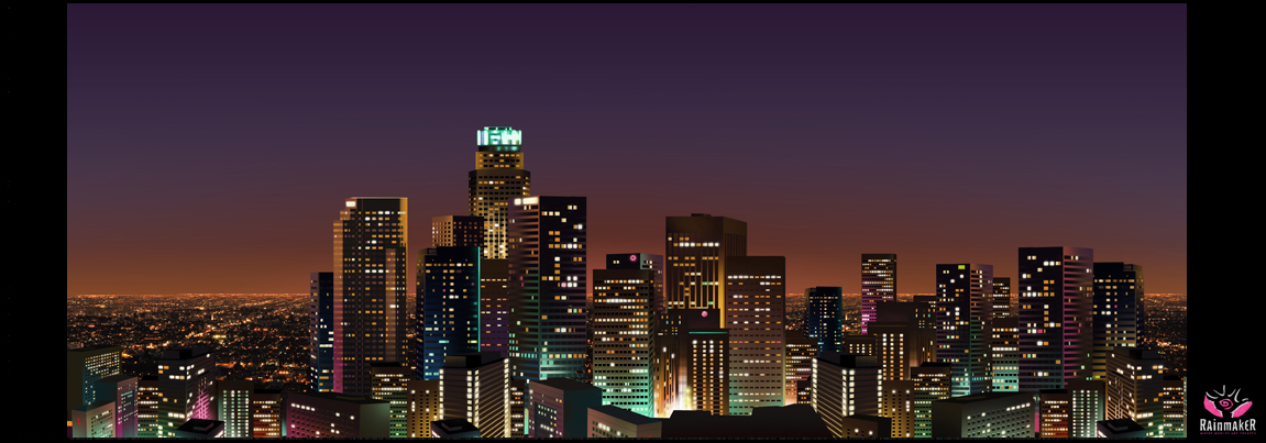 L.A. Skyline Night Matte Painting