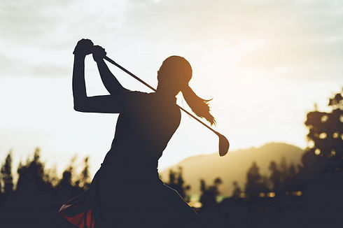 silhouette-young-female-golf-player-hit-