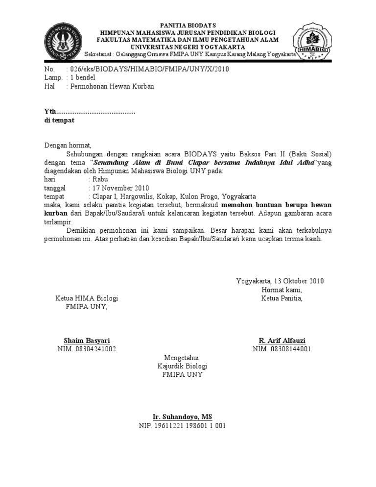 Contoh Surat Permohonan Bantuan 18