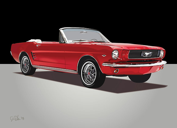 1966 Ford Mustang - Framed 18x24 Print