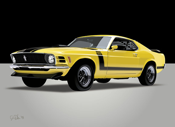 1970 Ford Mustang Boss 302 - Framed 18x24 Print