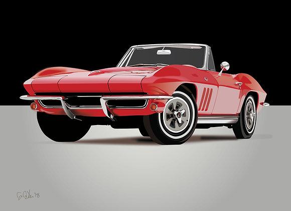 1965 Chevrolet Corvette - Framed 18x24 Print