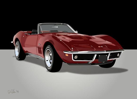 1969 Corvette Stingray - Framed 18x24 Print