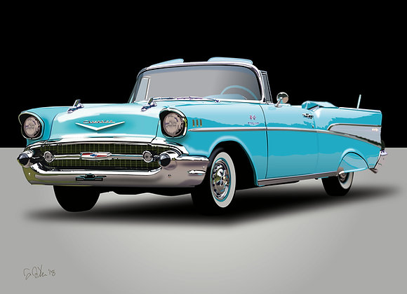 1957 Chevrolet Bel Air - Framed 18x24 Print