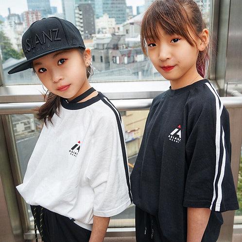 ASIANZ HEAD2 バックロゴ袖ラインTシャツ