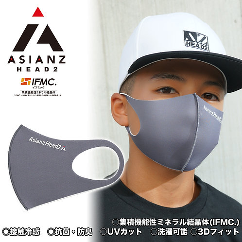 ASIANZ HEAD2 LOGOスポーツクールマスク ロゴ チャコール (20065113)