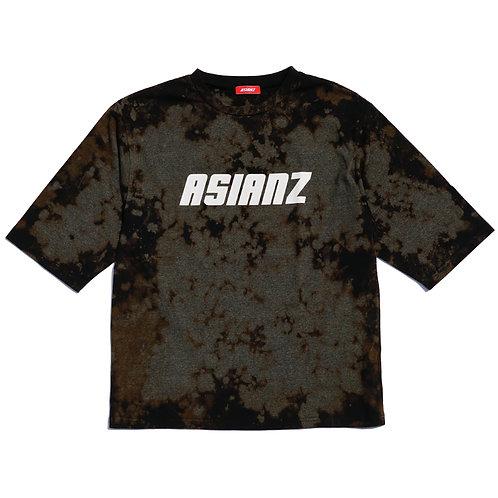 ASIANZ LIMITED カスタム 6分袖ネオンプリントTシャツ  Lサイズ(ブラック/グレー)