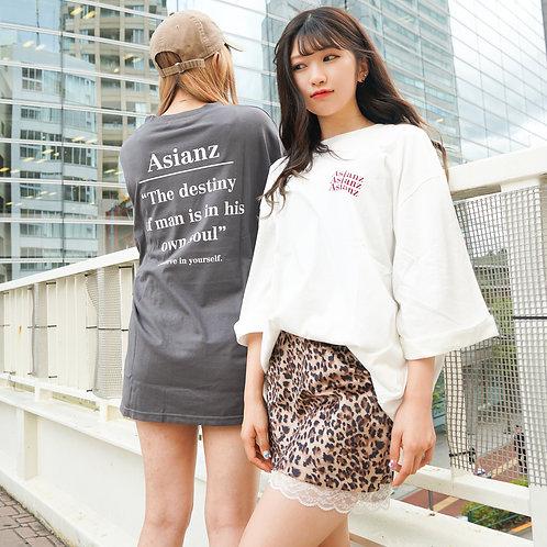 ASIANZ 5部丈 BACKロゴPO  Tシャツ