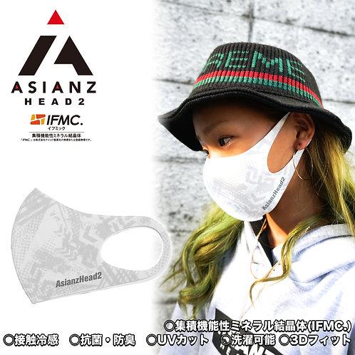 ミネラル マスク ASIANZ HEAD2 ロゴ 総柄グレー (20065212)