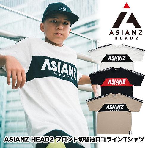 ASIANZ HEAD2 フロント切替袖ロゴラインTシャツ