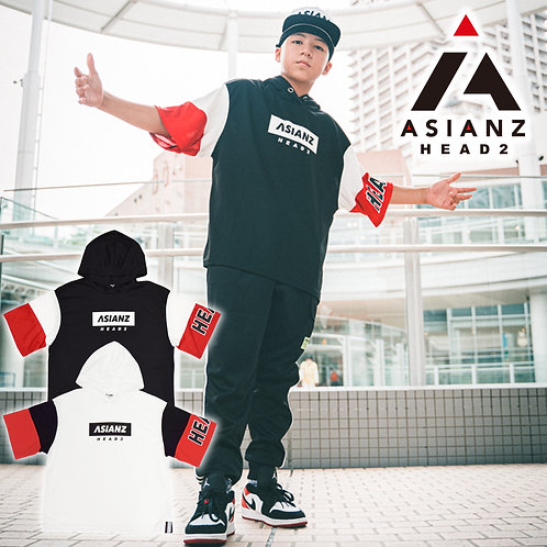 ASIANZ HEAD2 袖配色パーカー