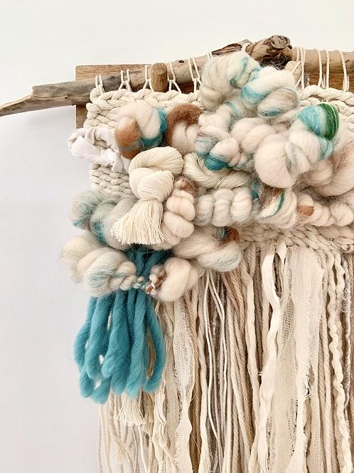 'shipwreck' wall hanging with handspun art yarn