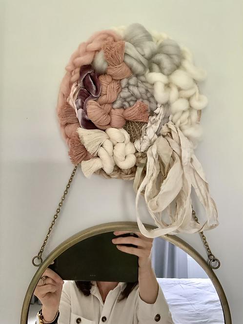 "6"" small woven circle blush pink + neutral"