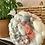 "Thumbnail: 6"" small woven circle grey + coral velvet"
