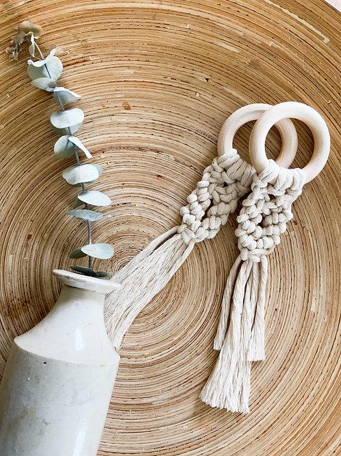 wooden ring macrame hanging dec