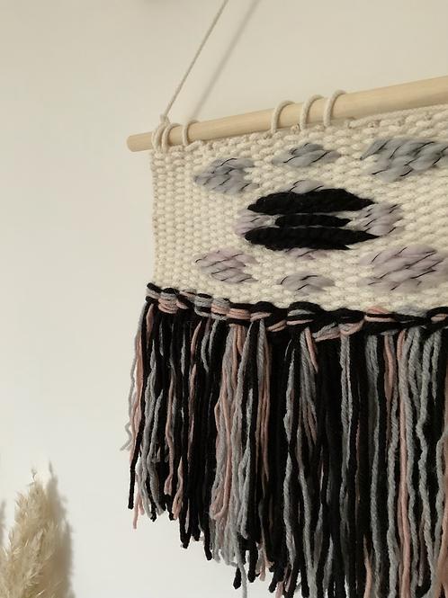 monochrome, grey + blush wall hanging