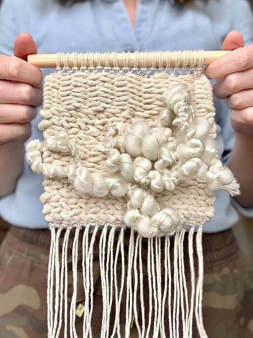 little neutral wall hanging with handspun art yarn