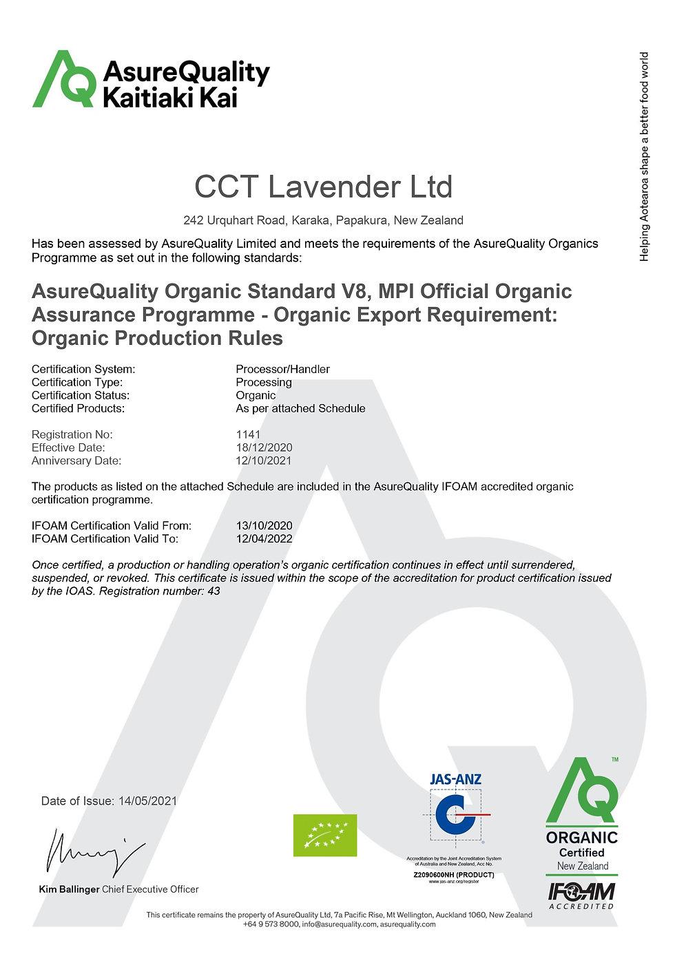 1141-04 CCT Lavender Organic Processing