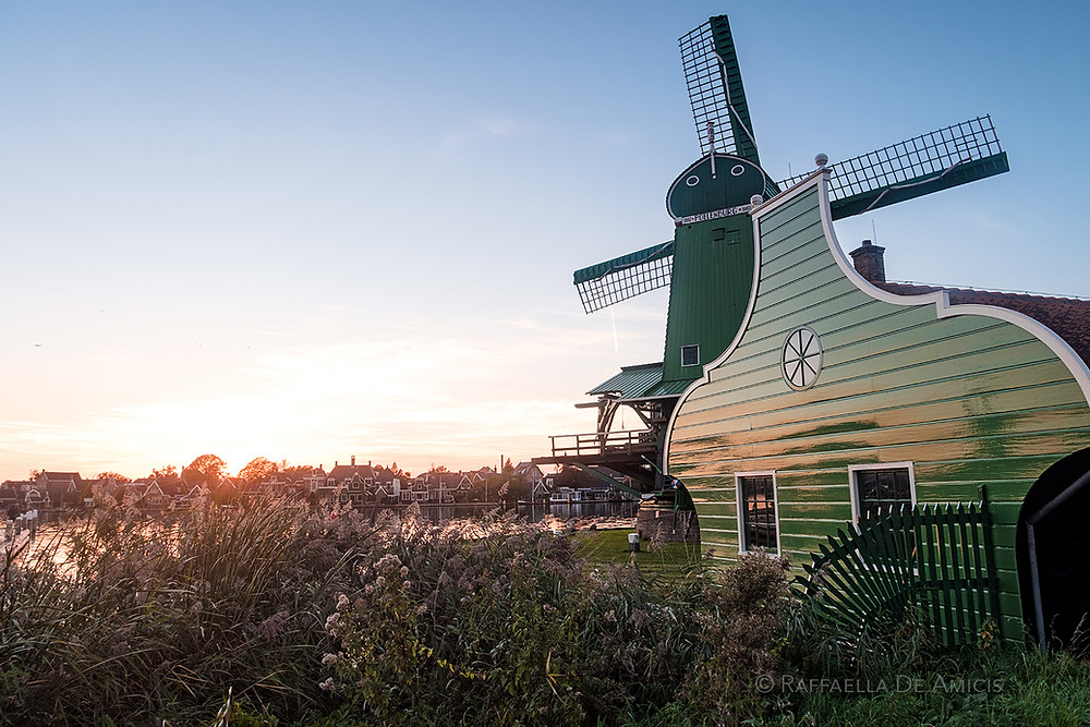Sunset at windmill in Zaanse Schans