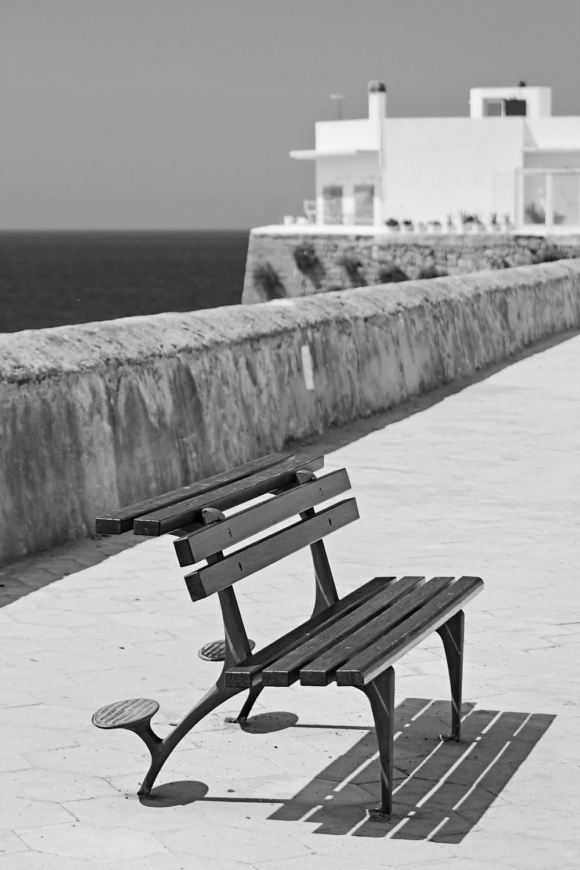 black and white bench gallipoli Italy