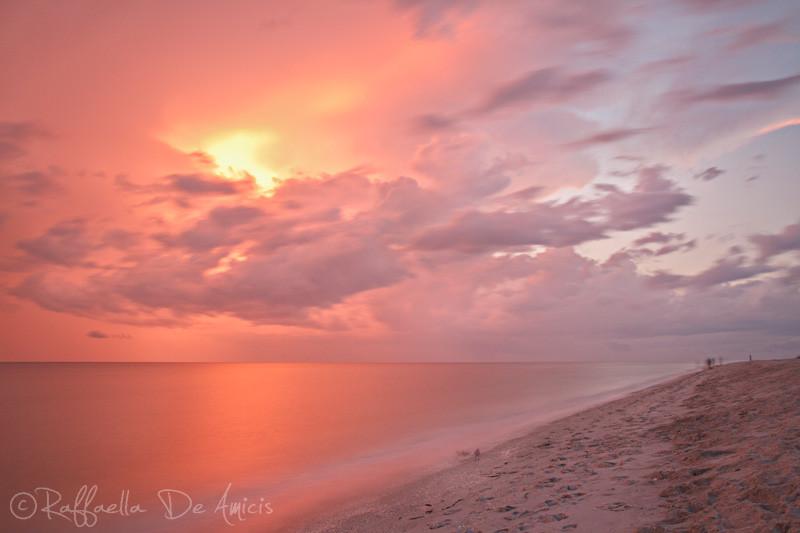 fiery sunset florida beach long exposure