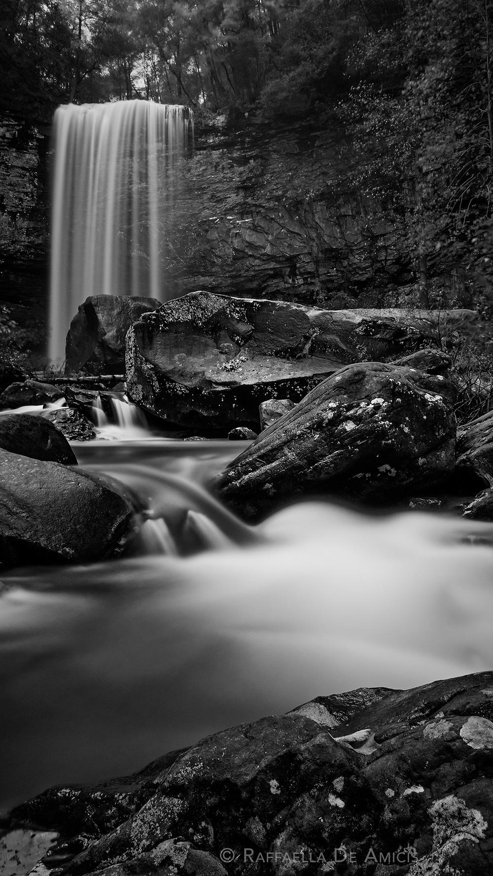 waterfall at cloudland canyon long exposure black and white