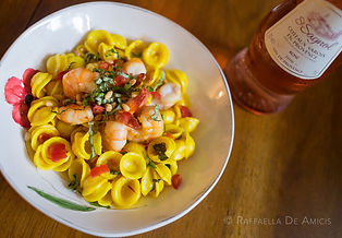 Bowl of pasta with shrimp