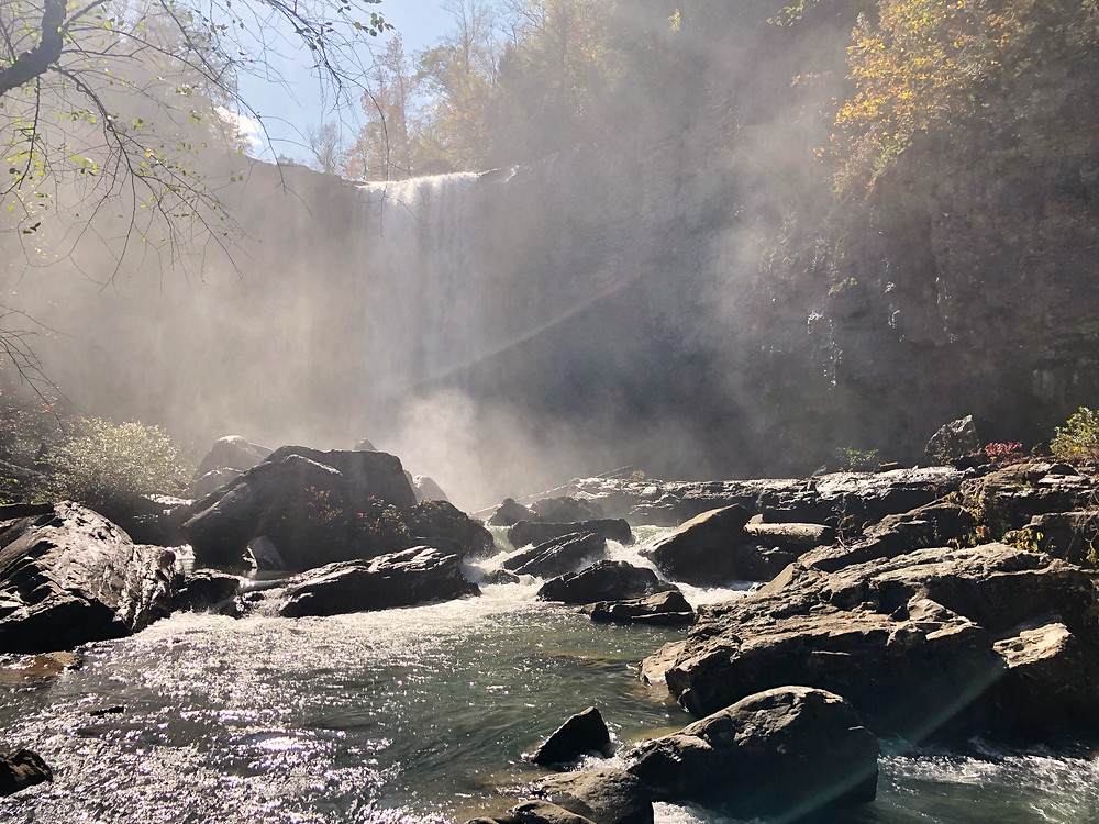 mist from the waterfall at Lula Lake in North Georgia