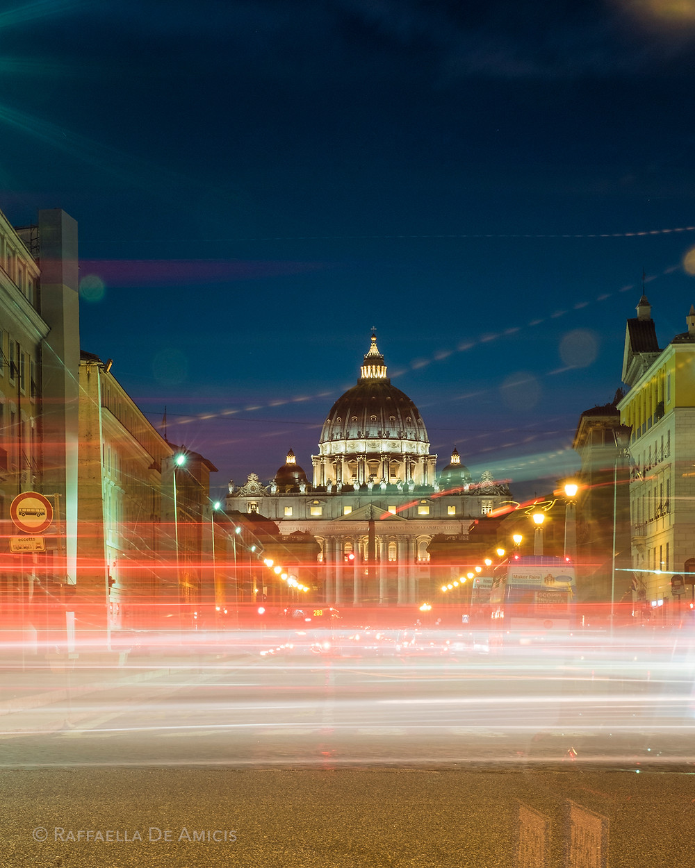 long exposure photo light trails st. peter's Rome Italy