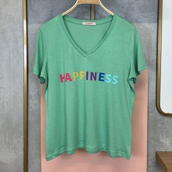 """• Tee shirt, escrito """"Happiness"""", em algodão. Verde   Lavanda   Branca • P   M   G   GG"""
